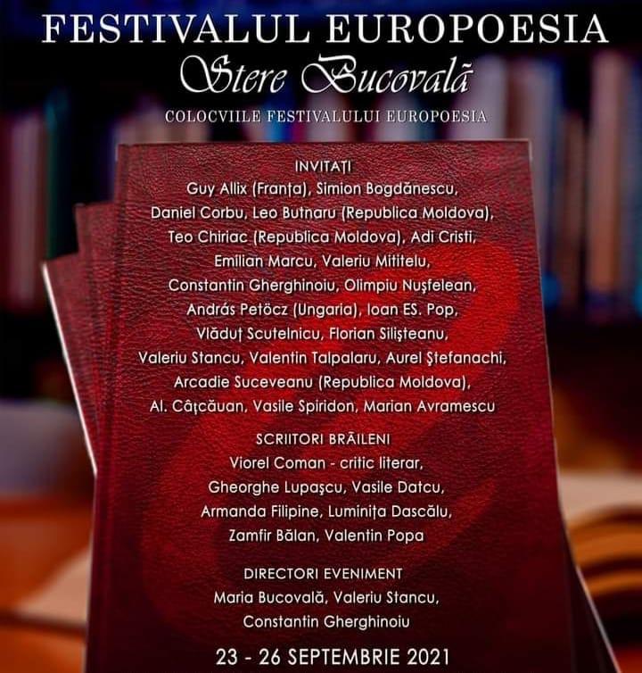 """Festivalul EuroPoesia """"Stere Bucovală"""" 2021"""